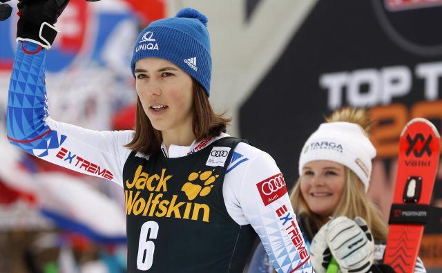 Petra Vlhova je blestela tudi na januarski tekmi za Zlato lisico v Kranjski Gori. FOTO: Matej Družnik/Delo