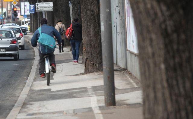 Na Dunajski je kar nekaj neurejenih poti za kolesarje.FOTO: Mavric Pivk/Delo