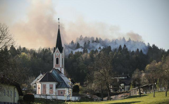 Požar v gozdu med Toškim čelom in Šentviškim hribom. FOTO: Uroš Hočevar