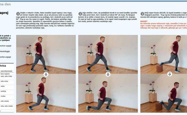 Izpadi naprej. Ko izberete pravo težavnost vaje, naredite 3 nize po 12 ponovitev vaje z vsako nogo naprej, z vmesnim pol minutnim odmorom. FOTO: Delo