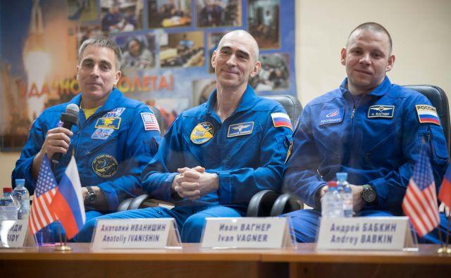 Chris Cassidy, Anatolij Ivanišin in Ivan Vagner FOTO: Ivan Tim/AFP