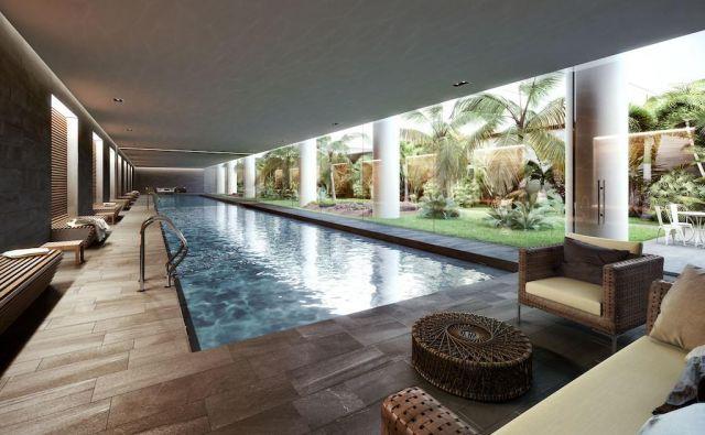 V Oppidumu bo pogled skozi »okna« podzemnega bazena dajal vtis, kot da je zunaj tropski vrt. FOTO: Oppidum