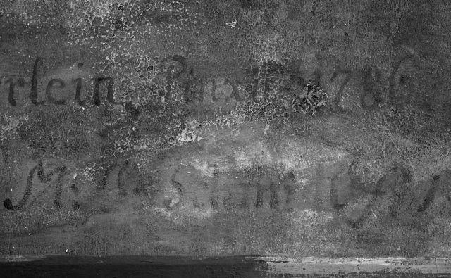 Avtorstvo freske: Andrej Herrlein 1786 in/ali Martin Johann Kremser-Schmidt 1775? Foto ZVKDS