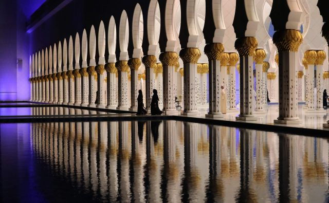 Karahasanov roman napoveduje skrivno, nevidno državo, neuničljivo kot pajkova mreža. Na fotografiji velika mošeja šejka Zajeda v Abu Dabiju. FotoAfp