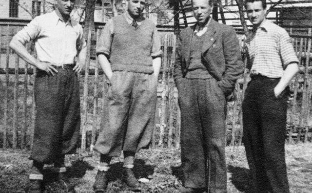 Zoran, Ostoj, Branimir in dr. Boris, sinovi dr. Henrika Tume, v zaporu, 2. april 1945 Foto družinski arhiv