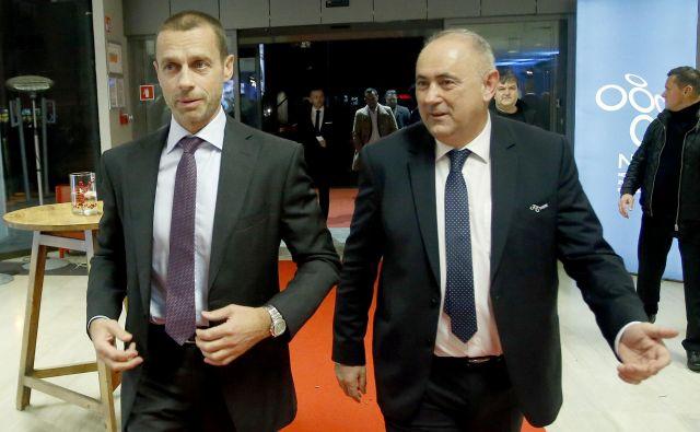 Predsednik Uefe Aleksander Čeferin in predsednik NZS Radenko Mijatović. FOTO: Roman Š�ipić