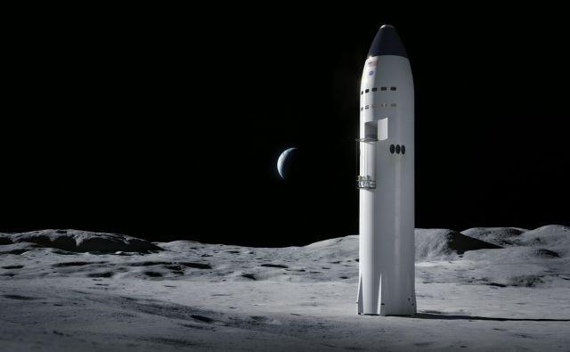 Starship podjetja SpaceX na Luni. ILUSTRACIJA: SpaceX