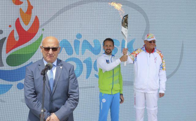 Bogdan Gabrovec je tako lani pospremil slovenske športnike na evropske igre v MInsk, letos pa se je prvi mož OKS podobno kot stanovski kolegi po vsem svetu moral odpovedati projektu olimpijskih iger. Foto Jože Suhadolnik