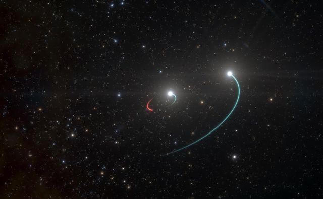 Umetniška upodobitev sistemaHR 6819. Sestavljen je iz črne luknje, ki jo obkroža zvezda, ki jo je tudi izdala, in še druga, bolj oddaljena zvezda. Znanstveniki so najprej menili, da gre za le za dvojno zvezdo, a nato so iz podatkov ugotovili, da mora biti tam še eno nebesno telo.<br /> FOTO:ESO/L. Calçada