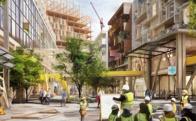 Takšne futuristične soseske v obalnem delu kanadskega Toronta za sedaj še ne bo. Foto Sidewalk Labs