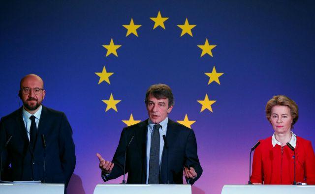 Predsednik evropskega svetaCharles Michel, predsednik evropskega parlamentaDavid Sassoli inpredsednica evropske komisijeUrsula von der Leyen.Foto: Francois Lenoir/Reuters