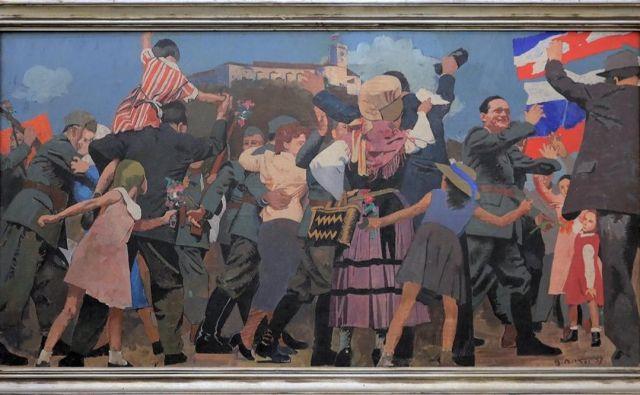 Osvoboditev Ljubljane, delo, na katerem je videti Borisa Kidriča, deklico, ki je pozneje postala slikarjev model, in tudi slikarja samega. Foto Antikvitete Novak