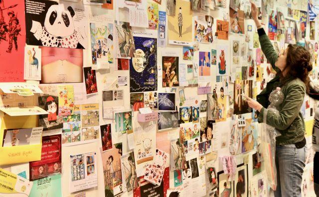 Takšna je bila znamenita bolonjska stena ilustratorjev doslej, letošnja spletna jo je odlično zamenjala.Foto Igor Bratož