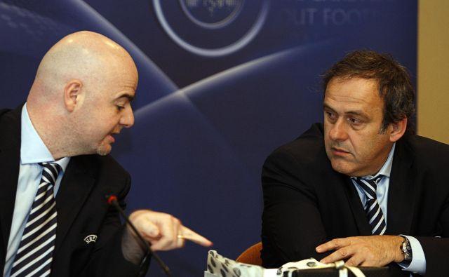 Gianni Infantino in Michel Platini med konferenco po kongresu Uefe marca 2010 v Tel Avivu. FOTO: Reuters