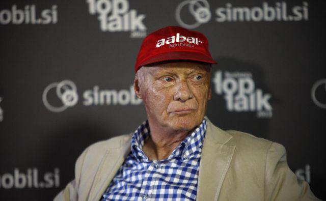 Niki Lauda se je leta 2013 udeležil tudi poslovnega dogodka na Brniku. FOTO: Uroš Hočevar