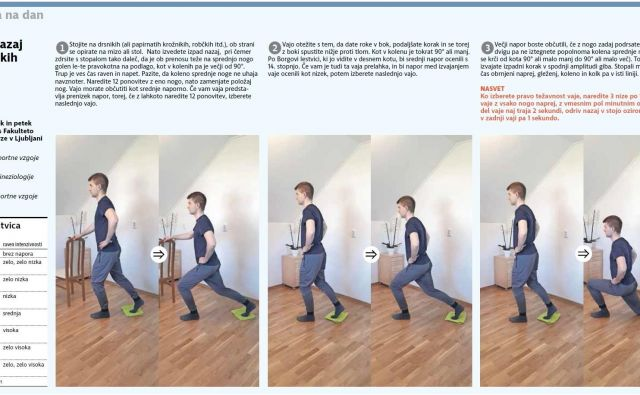 Ko izberete pravo težavnost vaje, naredite 3 nize po 12 ponovitev vaje z vsako nogo naprej, z vmesnim pol minutnim odmorom. FOTO: Delo