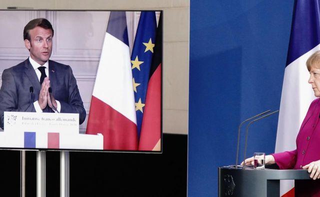 Načrt Angele Merkel in Emmanuela Macrona bi lahko bil prelomen. A v skupini varčnih članic s severa se krepi nasprotovanje. FOTO: AFP