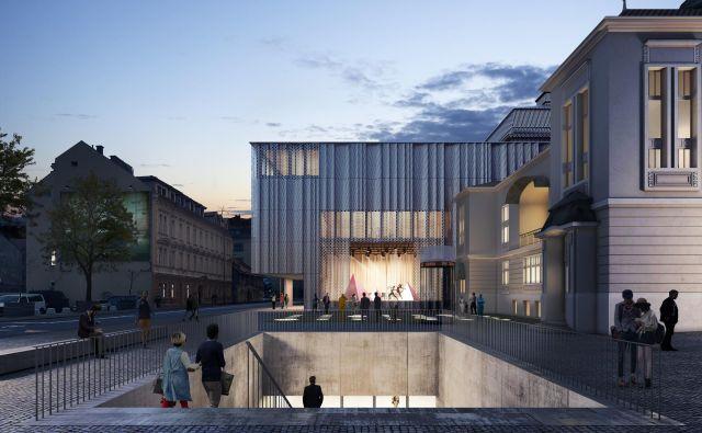 Z novimi prostori bodo v Drami zadovoljili uprizoritvene in varnostne standarde, ki veljajo v primerljivih sodobnih gledališčih. Računalniška vizualizacija: Bevk Perović Arhitekti