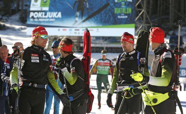 Moška štafeta bo na pokljuškem svetovnem prvenstvu močno slovensko orožje za vrhunsko uvrstitev. FOTO: Matej Družnik/Delo