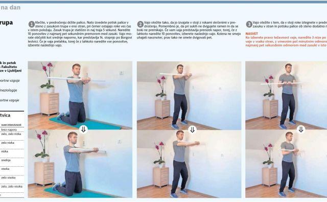Ko izberete pravo težavnost vaje, naredite 3 nize po 10 ponovitev vaje v vsako stran. FOTO: Delo