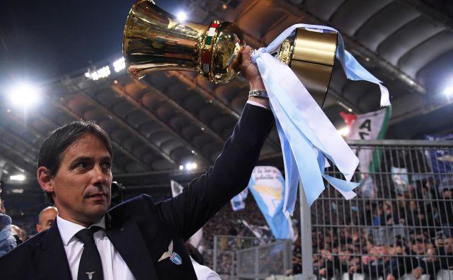 Simone Inzaghi je lani z Laziom osvojil italijanski pokal po finalni zmagi proti Atalanti. FOTO: Reuters