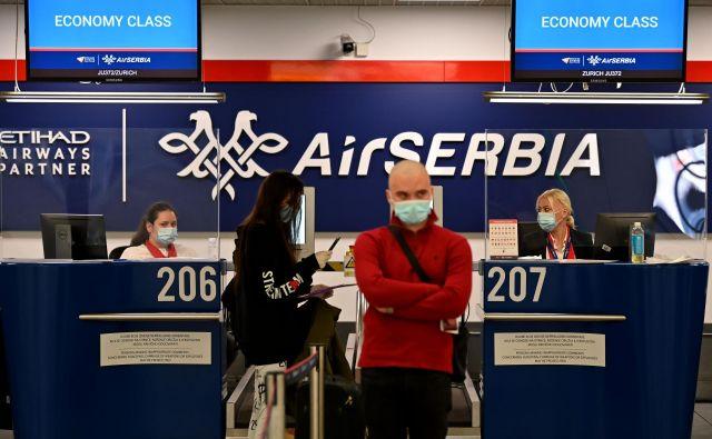 Srbski nacionalni letalski prevoznik je prvič po epidemiji včeraj zagnal redne linije. Foto AFP