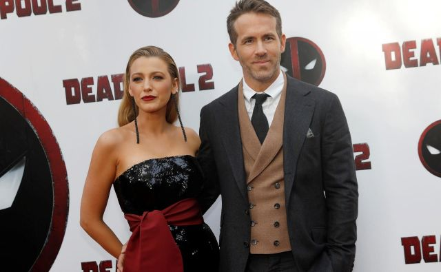Ryan Reynolds in Blake Lively pna premieri filma Deadpool 2 v New Yorku leta 2018. FOTO: Reuters