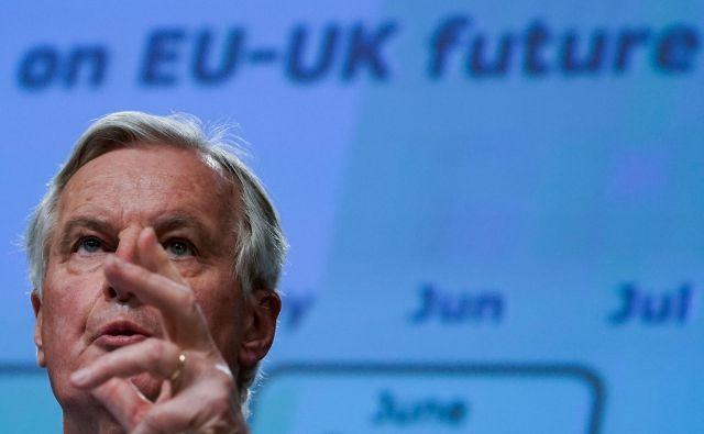 Danes se bo začel četrti, zadnji načrtovani krog pogajanj o prihodnjih odnosih med EU in Združenim kraljestvom. Na fotografiji glavni pogajalec EU Michel Barnier. FOTO: AFP
