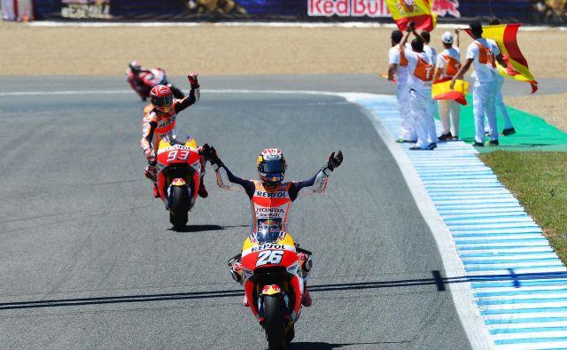 Ni še jasno, koliko dirk bosta letos imela španska asa Dani Pedrosa (v ospredju) in Marc Marquez. FOTO: AFP