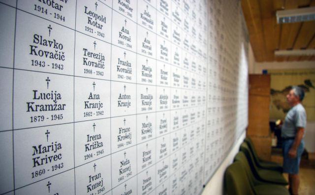 Panoji z napisi 1500 Slovencev, ki so jih med drugo svetovno vojno iz taborišča v Brestanici izgnali v tujino in so v tujini umrli. Foto Janoš Zore