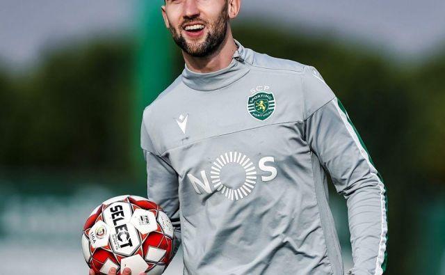Andraž Šporar med enim od zadnjih treningov lizbonskega Sportinga ni skrival dobre volje. FOTO: Facebook