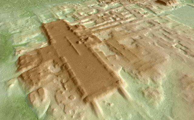 Trodimenzionalna slika arehološkega najdišča, zarisana s pomočjo orodja lidar. FOTO: Takeshi Inomata/Reuters