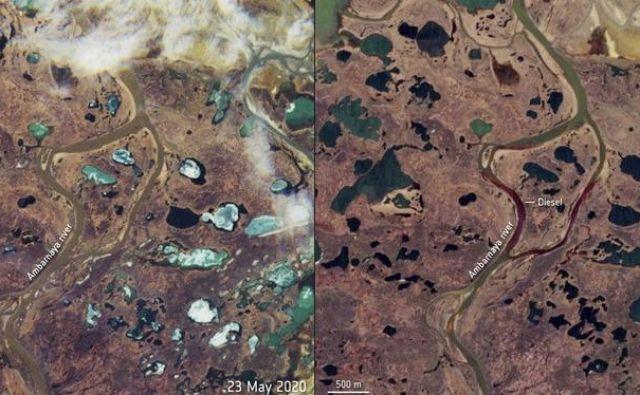 Primerjava reke pred onesnaženjem in po njem. FOTO: Esa