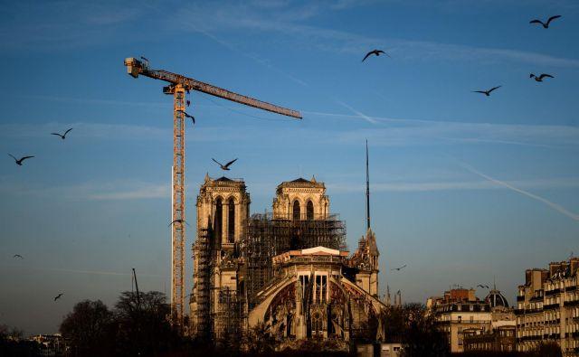 Sredi marca so zastala obnovitvena dela na pariški notredamski katedrali, simbolu in ponosu Francije. FOTO: Philippe Lopez/AFP