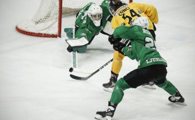 Pred enim letom so hokejisti SŽ Olimpije in Brunica igrali v finalu AHL, v obeh taborih pa razmišljajo o možnosti selitve v najvišji regionalni razred. FOTO: Uroš Hočevar/Delo