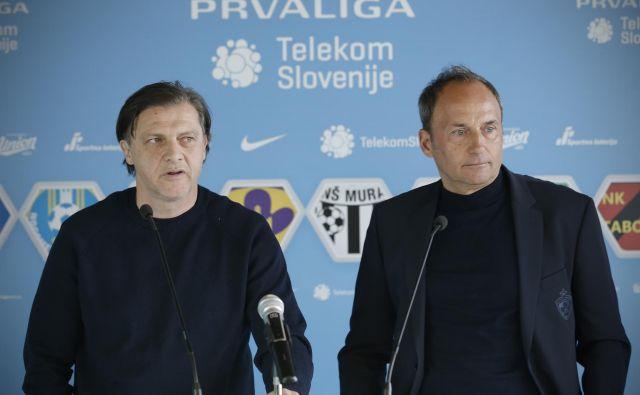 Safet Hadžić in Darko Milanič sta se še pozimi izmenjavala mnenja o nadaljevanju sezone in niti približno nista razmišljala o tem, da je ne bosta dočakala na trenerskem stolčku Olimpije in Maribora. FOTO: Jure Eržen/Delo