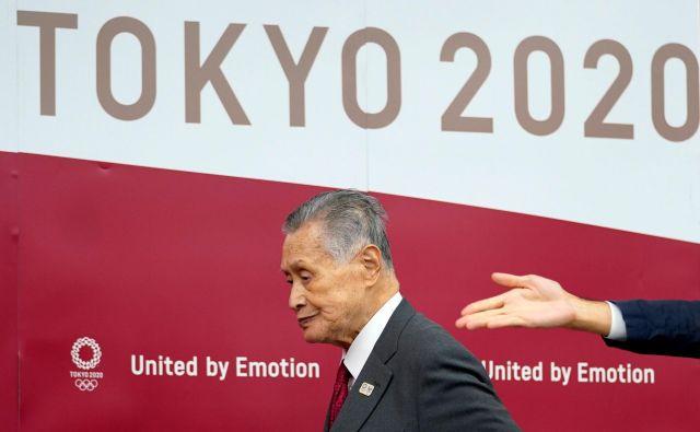 Predsednik organizacijskega odbora Tokio 2020 Joširo Mori je povedal, da odpoved OI nikoli ni bila tema dosedanjih razgovorov z MOK. FOTO: AFP
