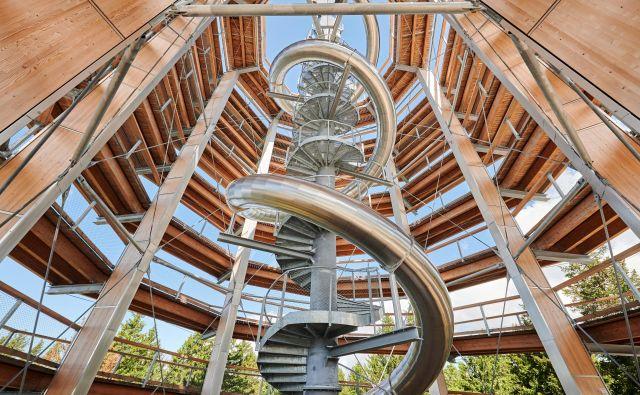 Pogled proti vrhu stolpa na Rogli, znotraj katerega je vijugasti tobogan v cevi. FOTO: Tomo Jeseničnik