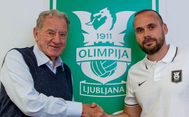 Predsednik Olimpije Milan Mandarić je stisnil roko novemu trenerju Dinu Skenderju. FOTO: NK Olimpija
