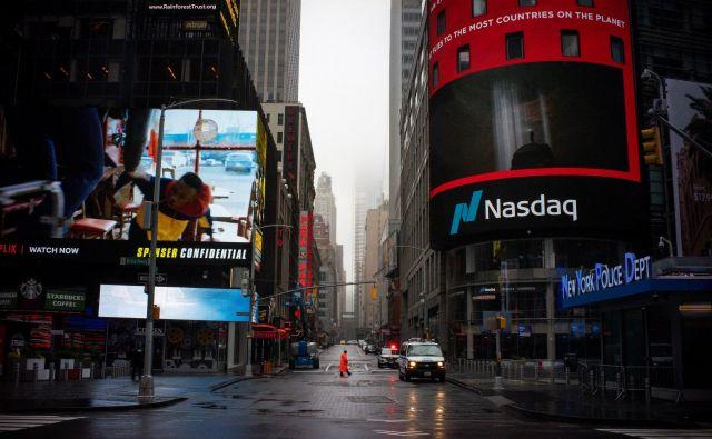 Tehnološka borza Nasdaq ima sedež na Times Squaru v središču New Yorka. FOTO: Eduardo Munoz/Reuters