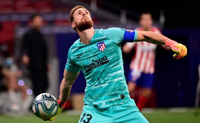 Jan Oblak je proslavil novo zmago Atletica brez prejetega gola. FOTO: Javier Soriano/AFP