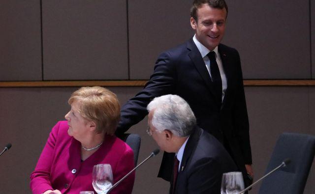 Janez Janša se je na videokonferenci sestal z Angelo Merkel in Antoniom Costa (na fotografiji sedeča). FOTO: Yves Herman/Reuters