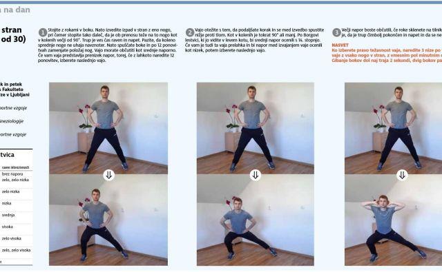 Ko izberete pravo težavnost vaje, naredite 3 nize po 12 ponovitev vaje z vsako nogo v stran, z vmesnim pol minutnim odmorom. FOTO: Delo