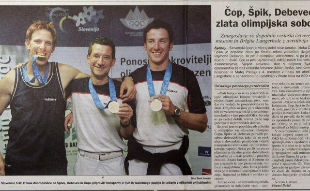 Olimpijske igre v Sydneyju leta 2000 so Sloveniji prinesel tri zlate kolajne, Iztoku Čopu in Luki Špiku se je med zmagovalci pridružil tudi strelec Rajmond Debevec. FOTO: Blaž Samec/Delo