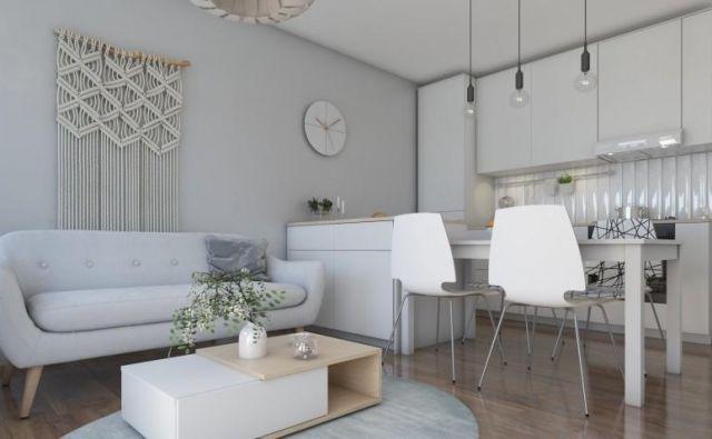 Bralka si želi predlog razporeditve opreme v bivalnem prostoru, v katerem bodo kuhinja, dnevna soba in domači delovni kotiček. FOTO: Tjaša Justin