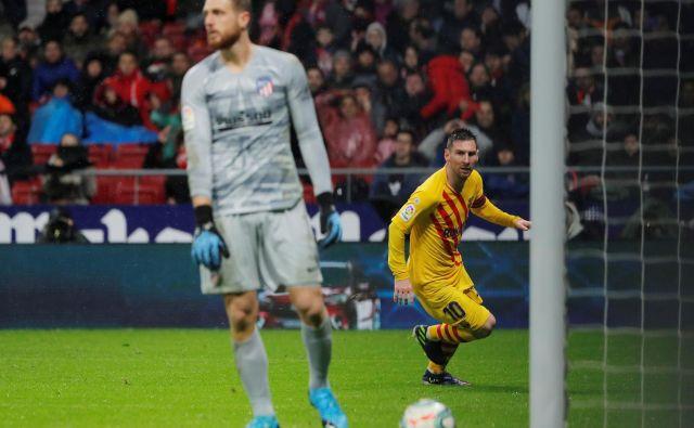 Lionel Messi je doslej zabil 31 golov v mrežo Atletica, devet od leta 2015, ko zanj brani Jan Oblak. Foto Susana Vera/Reuters