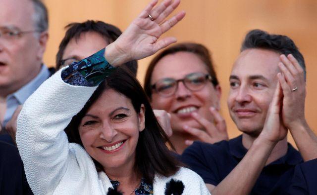 Pariška županja Anne Hidalgo se veseli vnovičnega mandata. FOTO: Christian Hartmann/Reuters
