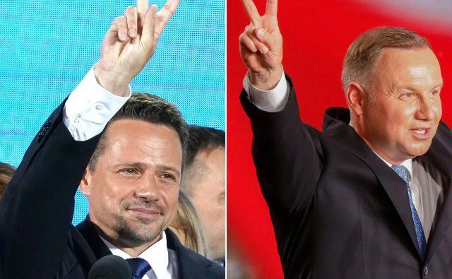 V drugem krogu se bosta spopadla varšavski župan Rafał Trzaskowski in aktualni predsednikAndrzej Duda.FOTO: Janek Skarzynski/Afp