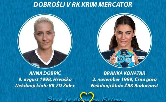 Anna Dobrić in Branka Konatar bosta poslej nosili dres Krima Mercatorja. FOTO: RK Krim Mercator