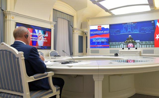 Srečanja »astanskega formata« je tokrat potekalo na daljavo. Foto: Sputnik/Reuters